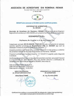 Certificat de acreditare RENAR nr. OR 005