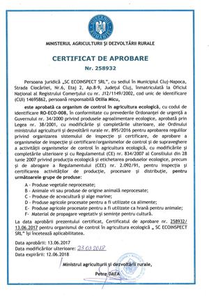 Certificat de aprobare MADR