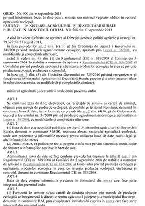 Ordin nr. 900 din 06.09.2013 referitor la inregistrarea operatorilor de seminte ecologice