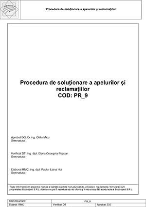 PR-9 - Procedura de solutionare a apelurilor si reclamatiilor 13.02.2018