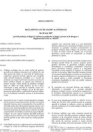 Reglementare CE nr. 834 din 2007