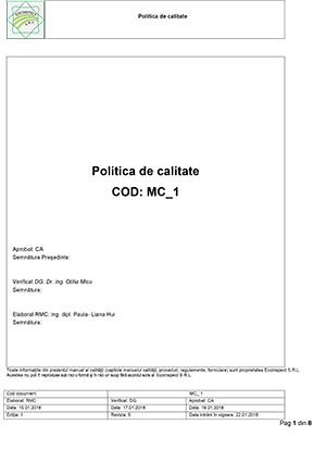 MC-1 Politica de calitate 2018