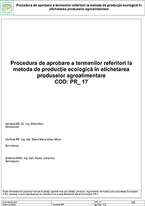 PR-17 - Procedura de aprobare a termenilor ref. la etichetarea produselor ecologice - 25.05.2018