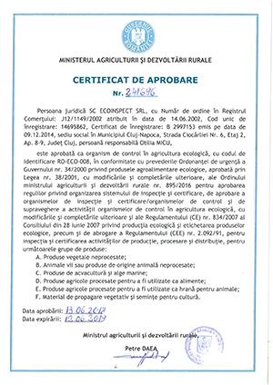 Certificat de aprobare MADR 2019